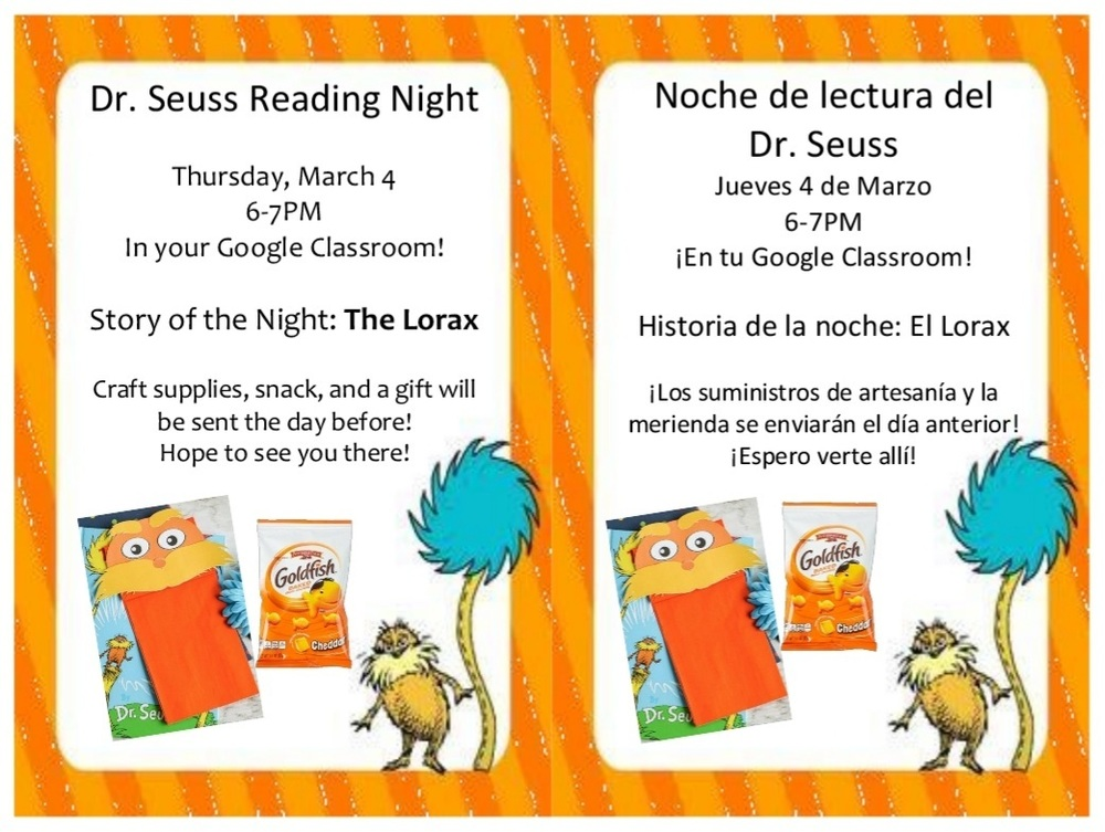 Dr. Seuss VIRTUAL Reading Night 3/