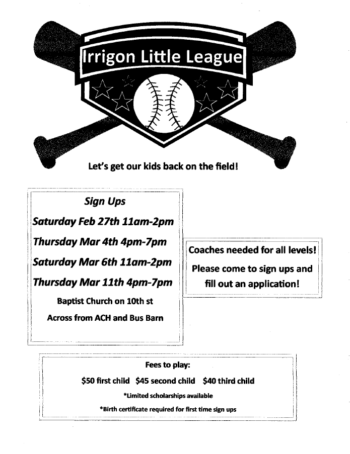 Little League Sign Up Information